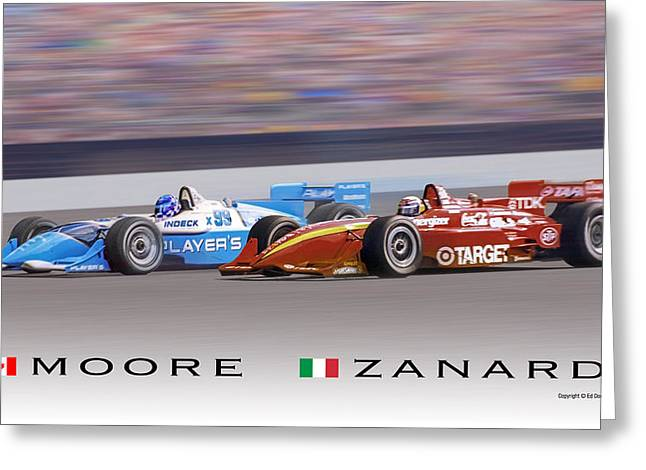 Moore And Zanardi Greeting Card by Ed Dooley