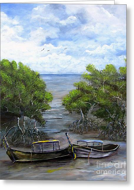 Moored Among The Mangroves Greeting Card