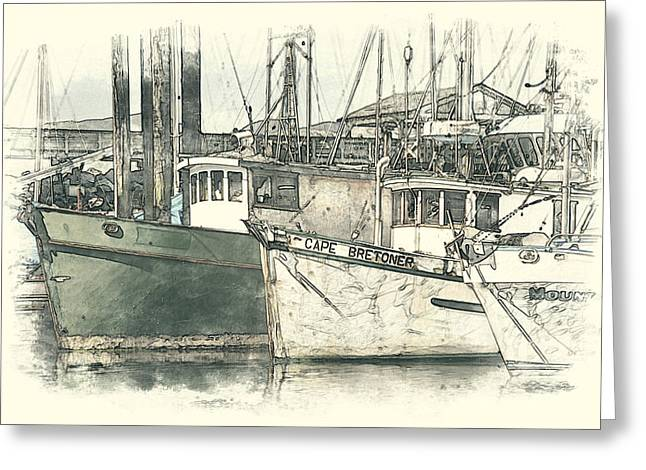 Moored Fishing Boats Greeting Card