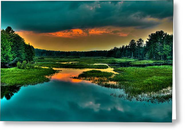 Moose River Sunset Greeting Card by David Patterson