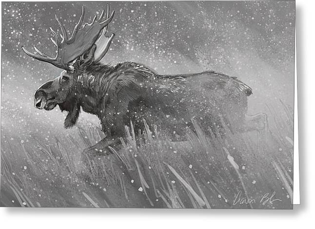 Greeting Card featuring the digital art Moose Sketch by Aaron Blaise
