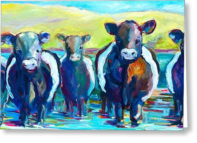 Moove Over Greeting Card by Sue Scoggins