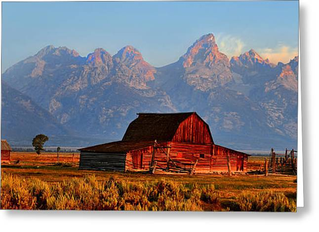 Mormon Row And The Grand Tetons  Greeting Card by Ken Smith