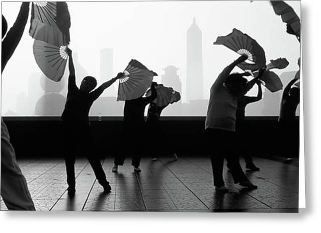 Morning Exercise, The Bund, Shanghai Greeting Card by Panoramic Images
