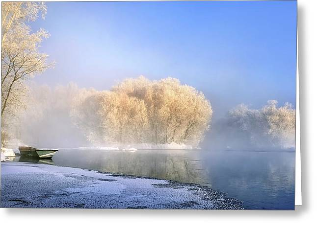 Morning Fog And Rime In Kuerbin Greeting Card