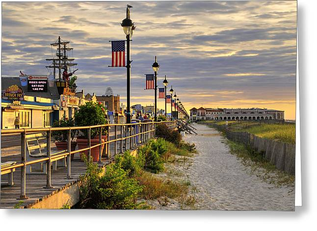 Morning On The Boardwalk Greeting Card