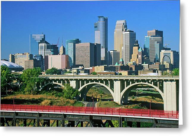 Morning View Of Minneapolis, Mn Skyline Greeting Card