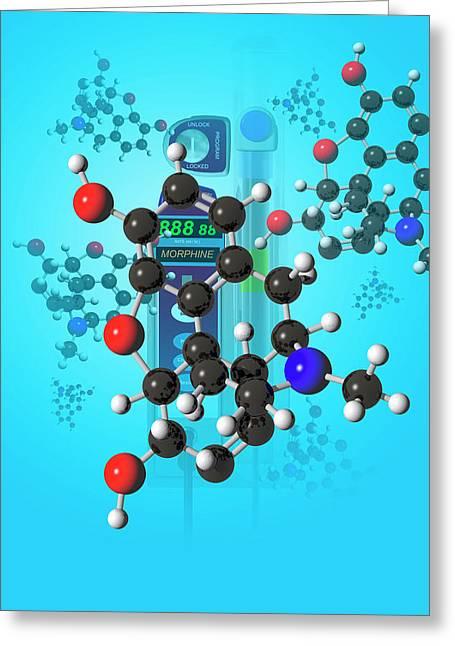 Morphine Molecule Greeting Card by Carol & Mike Werner
