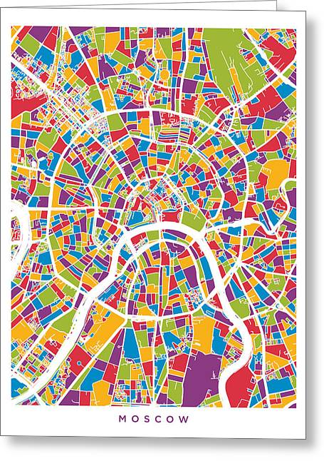 Moscow City Street Map Greeting Card by Michael Tompsett