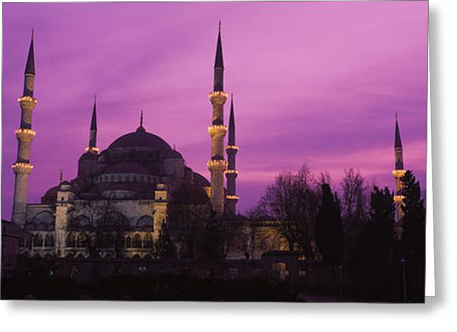 Mosque Lit Up At Dusk, Blue Mosque Greeting Card by Panoramic Images
