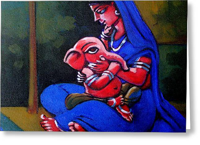 Mother And Child. Greeting Card by Abhijit Banerjee