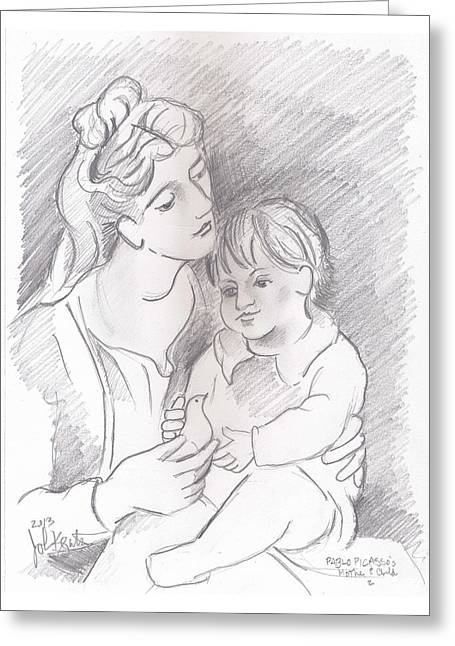 Mother And Child Greeting Card by John Keaton