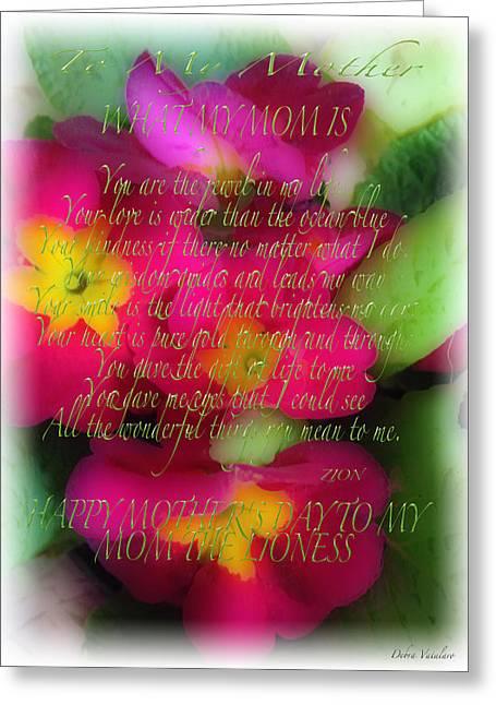 Mothers Day Poem Greeting Card by Debra     Vatalaro