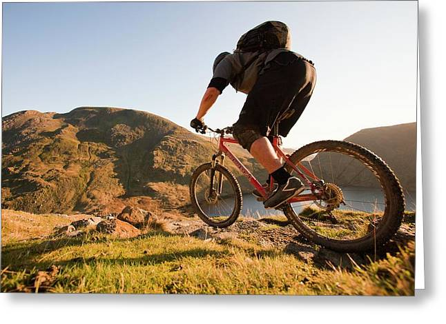 Mountain Bikers Greeting Card by Ashley Cooper