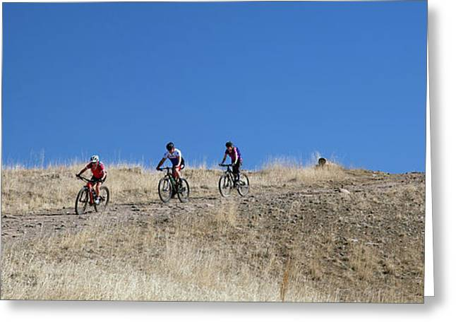 Mountain Bikers Greeting Card by Jim West