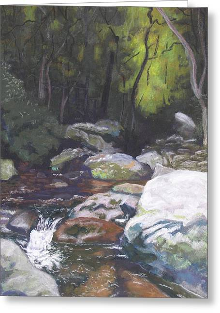 Greeting Card featuring the pastel Mountain Stream At Dusk by Robert Decker