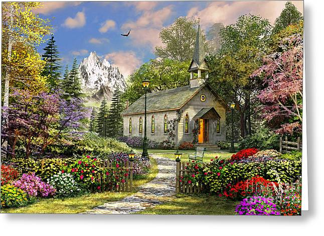 Mountain View Chapel Greeting Card by Dominic Davison