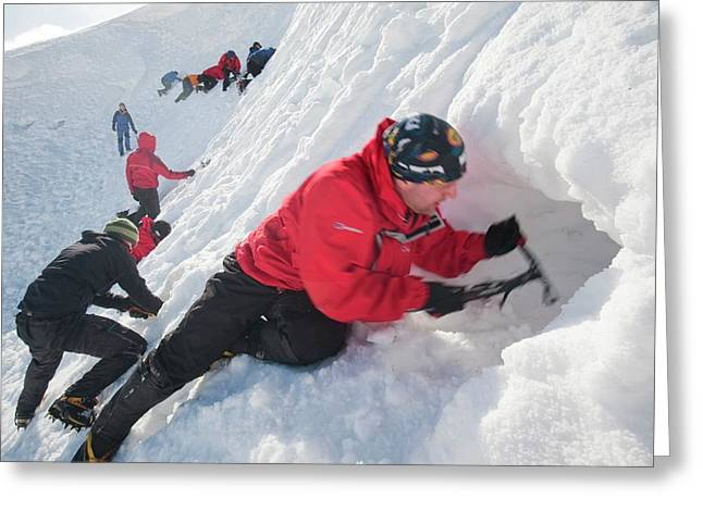 Mountaineers Building Snow Holes Greeting Card by Ashley Cooper
