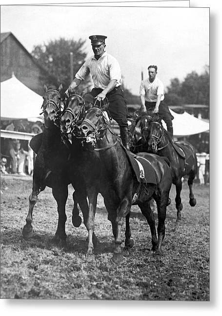 Mounted Police Stunts Greeting Card by Underwood Archives