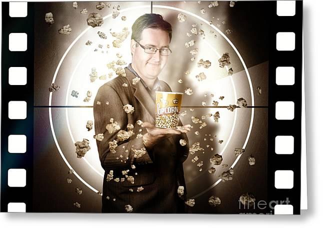 Movie Man Holding Cinema Popcorn Bucket At Film Greeting Card by Jorgo Photography - Wall Art Gallery