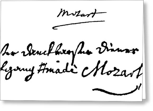 Mozart Autograph Greeting Card by Granger