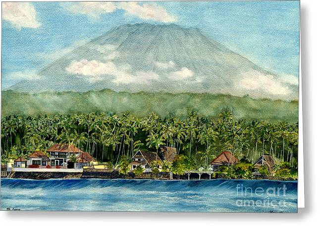 Greeting Card featuring the painting Mt. Agung Bali Indonesia by Melly Terpening