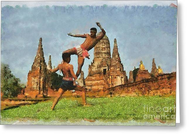 Muay Thai Arts Of Fighting  Greeting Card by Rames Ratyantarakor