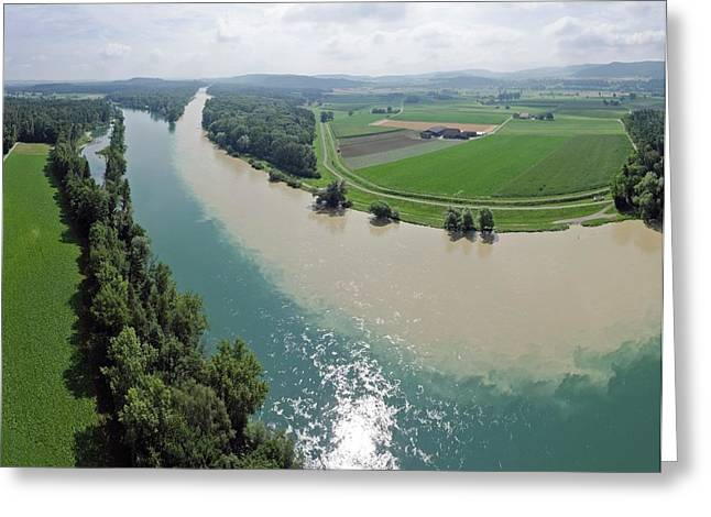 Muddy And Clear Rivers Merging Greeting Card by Dr Juerg Alean