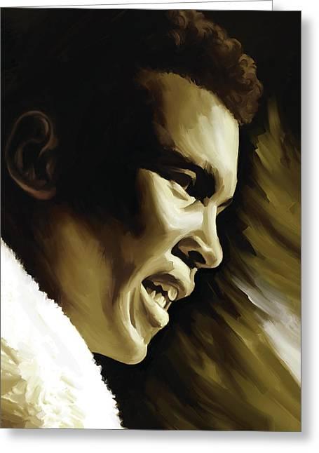 Muhammad Ali Boxing Artwork Greeting Card by Sheraz A
