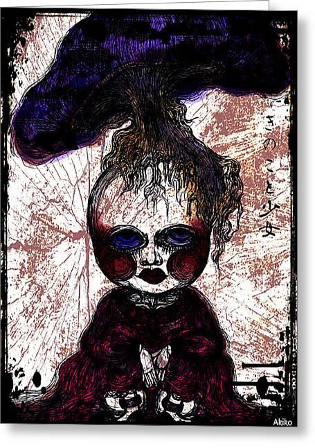 Mushroom Girl Greeting Card by Akiko Okabe