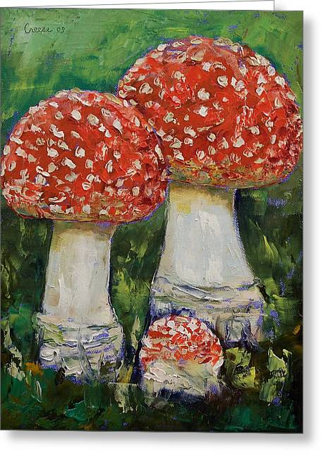 Mushrooms Greeting Card by Michael Creese