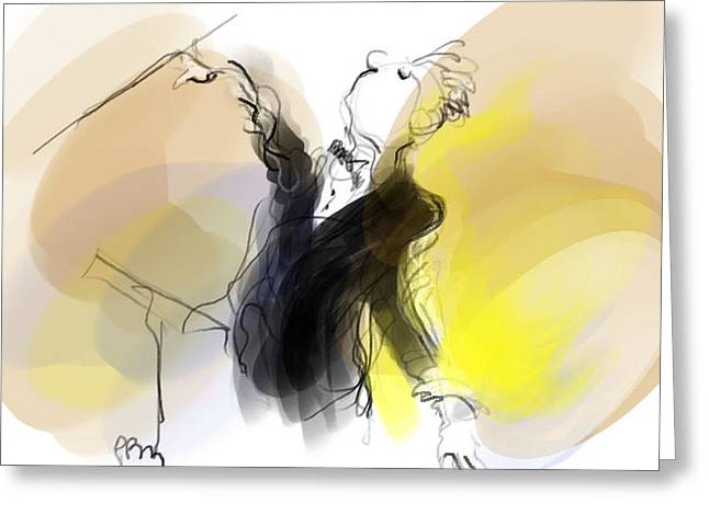 Music Conductor In Yellow Greeting Card