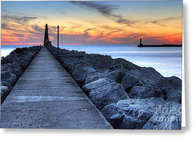 Muskegon Pier And Lighthouse Greeting Card by Twenty Two North Photography