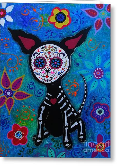 My Chihuahua Dia De Los Muertos Greeting Card by Pristine Cartera Turkus