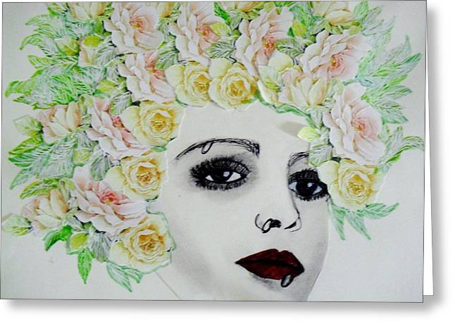 My Flowered Hat Greeting Card by Suzanne Thomas