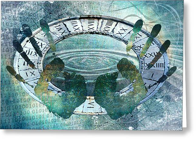 Greeting Card featuring the digital art My Hands On Time by Helene U Taylor