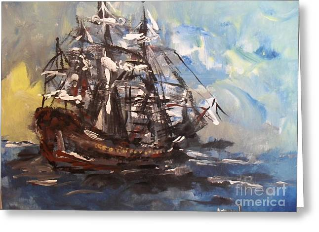 Greeting Card featuring the painting My Ship by Laurie Lundquist
