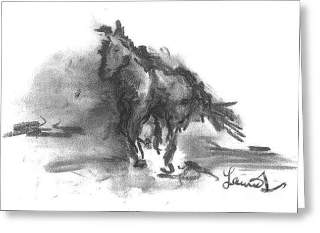 Greeting Card featuring the drawing My Stallion by Laurie Lundquist