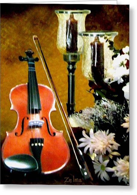 My Violin Greeting Card by Zelma Hensel