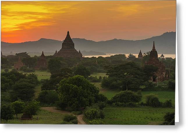 Myanmar Bagan Sunset Over The Temples Greeting Card by Inger Hogstrom