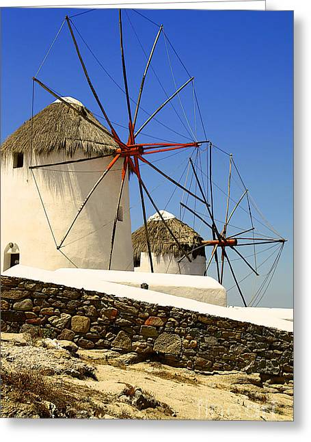Mykonos Windmills Greeting Card