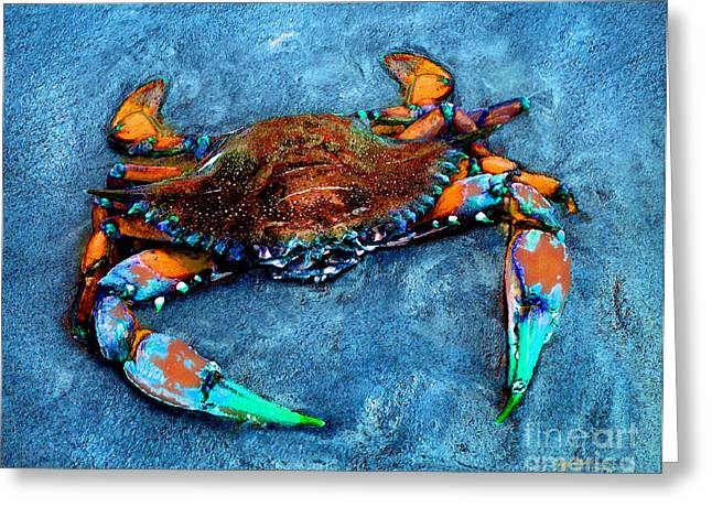 Crabby Blue Greeting Card by Jeff McJunkin