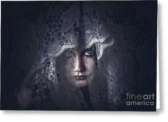 Mysterious Female Mystic Veiled In Lace Secrecy  Greeting Card by Jorgo Photography - Wall Art Gallery