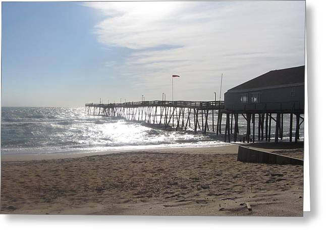 Nags Head Pier 2 Greeting Card by Cathy Lindsey