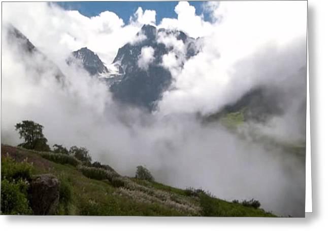 Nanda Devi Peaks On Mount Himalaya North India  Greeting Card by Navin Joshi