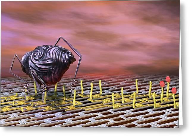 Nanobot Modifying Dna Greeting Card by Nicolle R. Fuller