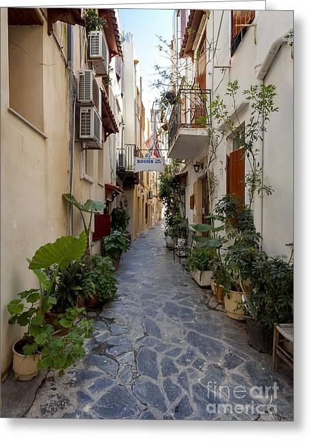 Narrow Streets In Chania Greece Greeting Card