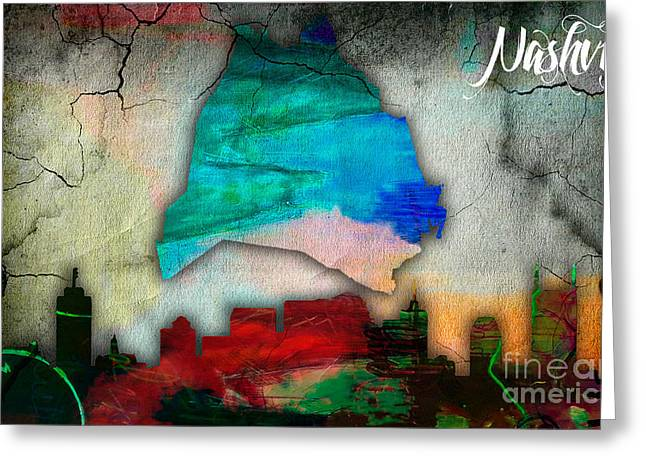 Nashville Skyline And Map Watercolor Greeting Card