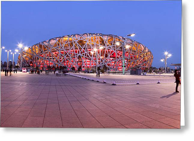 National Stadium Panorama Beijing China Greeting Card by Colin and Linda McKie