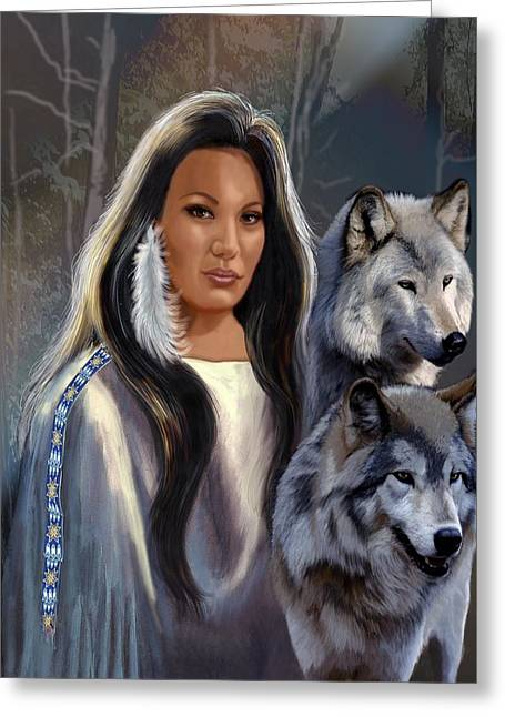 Native American Maiden With Wolves Greeting Card by Regina Femrite